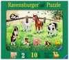 10 Teile Holzpuzzle: Heimische Tierkinder