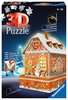 Ravensburger Christmas Gingerbread House Night Edition 216 piece 3D Jigsaw Puzzle with LED lighting for Kids age 8 years and up 3D Puzzle®;Night Edition - Ravensburger