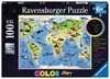 Bunte Tierweltkarte Puzzle;Kinderpuzzle - Ravensburger