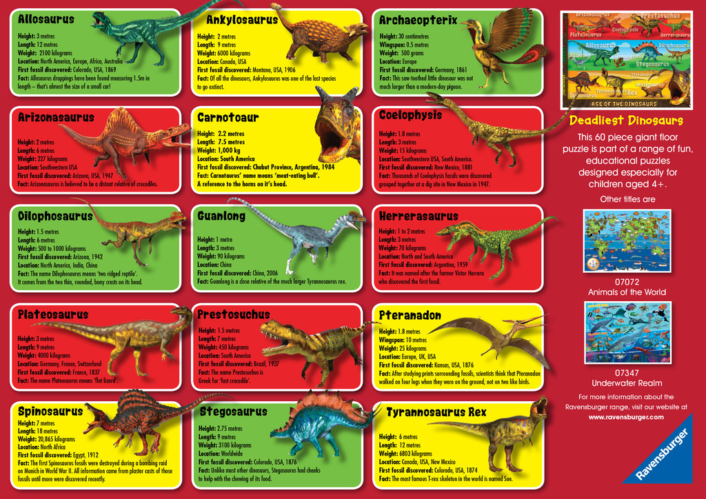 Deadliest Dinosaurs Giant Floor Puzzle 60pc Image 3
