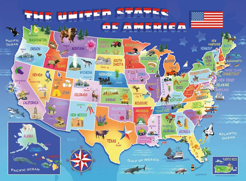 Usa State Map Childrens Puzzles Jigsaw Puzzles Products Usa - State-map-of-us