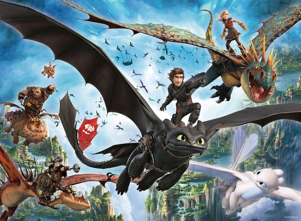 Puzzle 100 p XXL - Le monde caché / Dragons 3 | Puzzle enfant ...