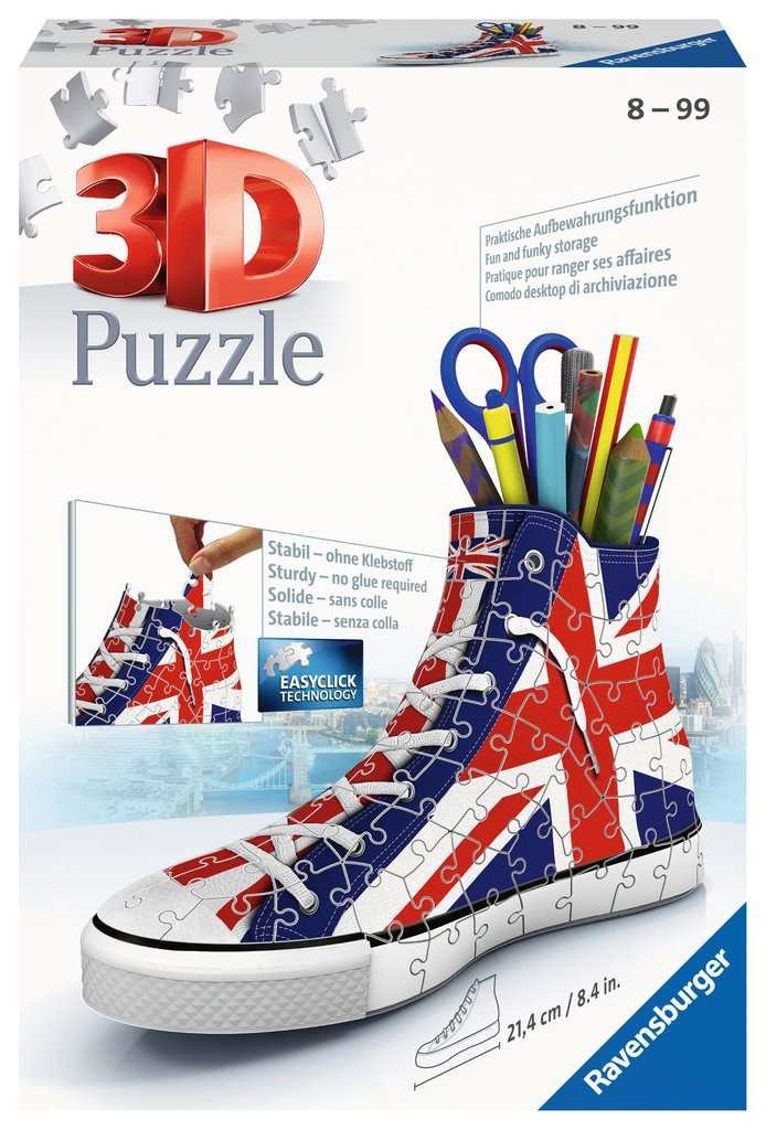union jack sneaker 3d puzzle 108pc image 1 click to zoom. Black Bedroom Furniture Sets. Home Design Ideas