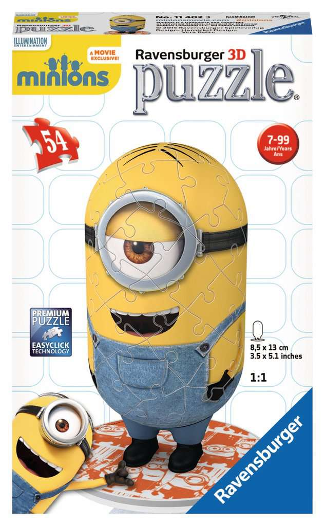 minion shaped 3d puzzle 54pc image 1 click to zoom. Black Bedroom Furniture Sets. Home Design Ideas