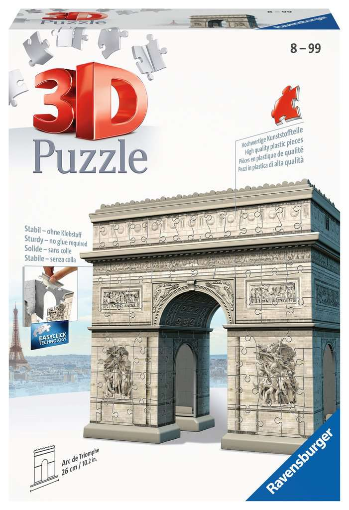 arc de triomphe 3d puzzle 216pc image 1 click to zoom. Black Bedroom Furniture Sets. Home Design Ideas