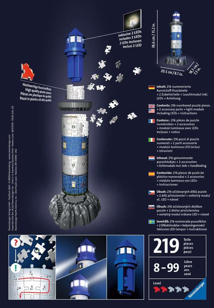6be971c5a Maják v příboji (Noční edice), 216 dílků 3D Puzzle;Budovy - image