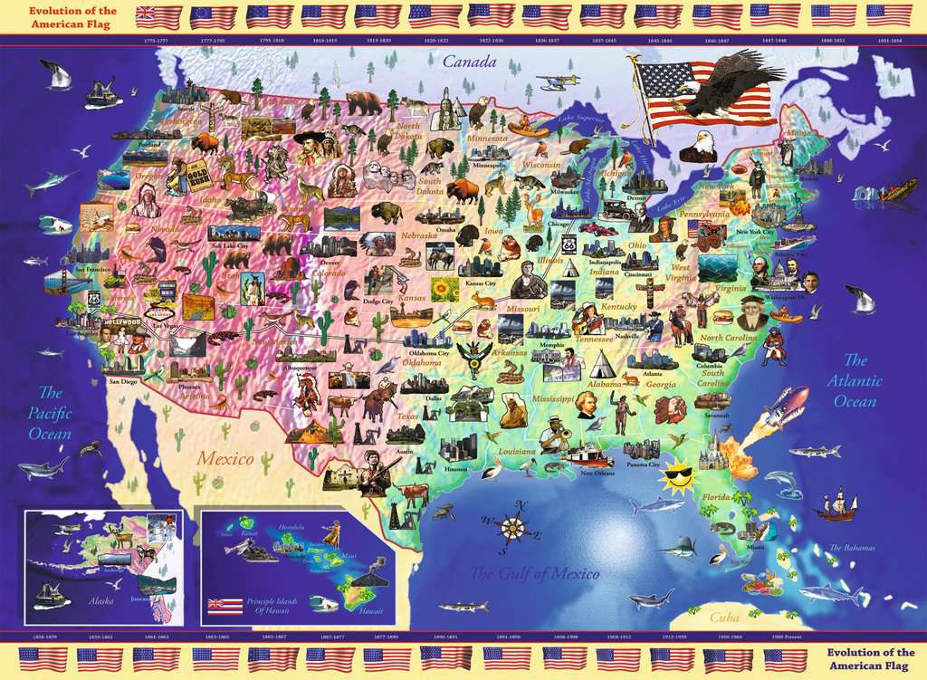 USA Map Childrens Puzzles Jigsaw Puzzles Products USA Map