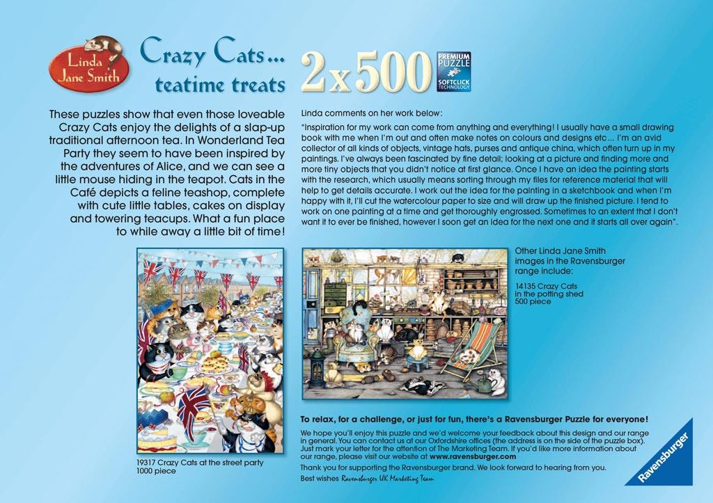 Crazy Cats Tea Time Treats, 2x500pc | Adult Puzzles