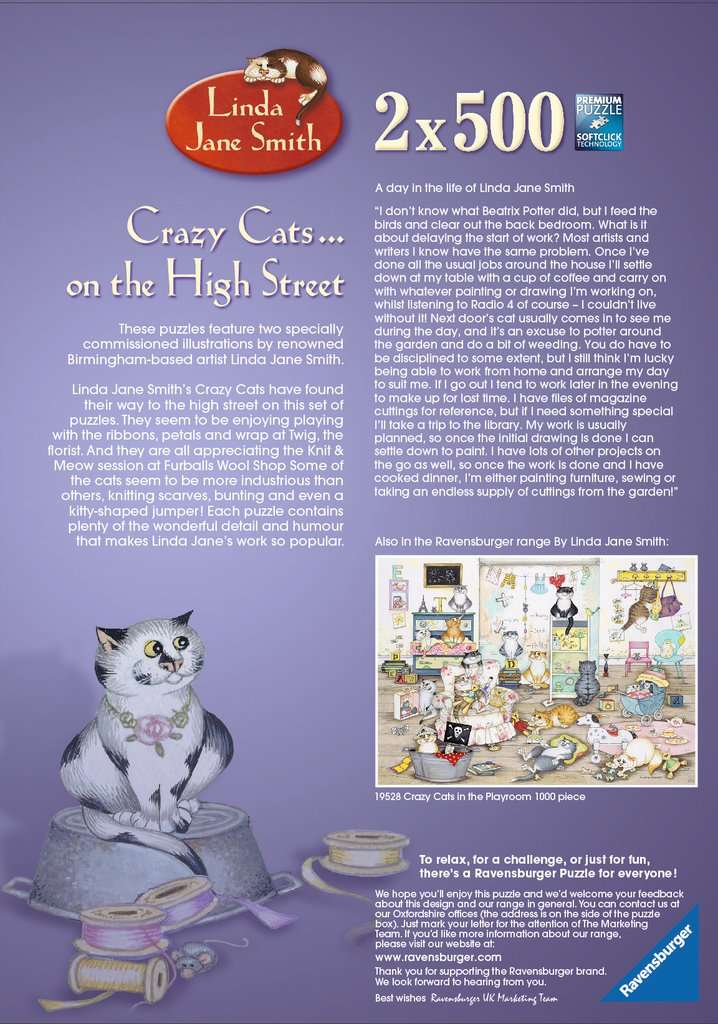 Crazy Cats - On the High Street, 2x500pc | Adult Puzzles