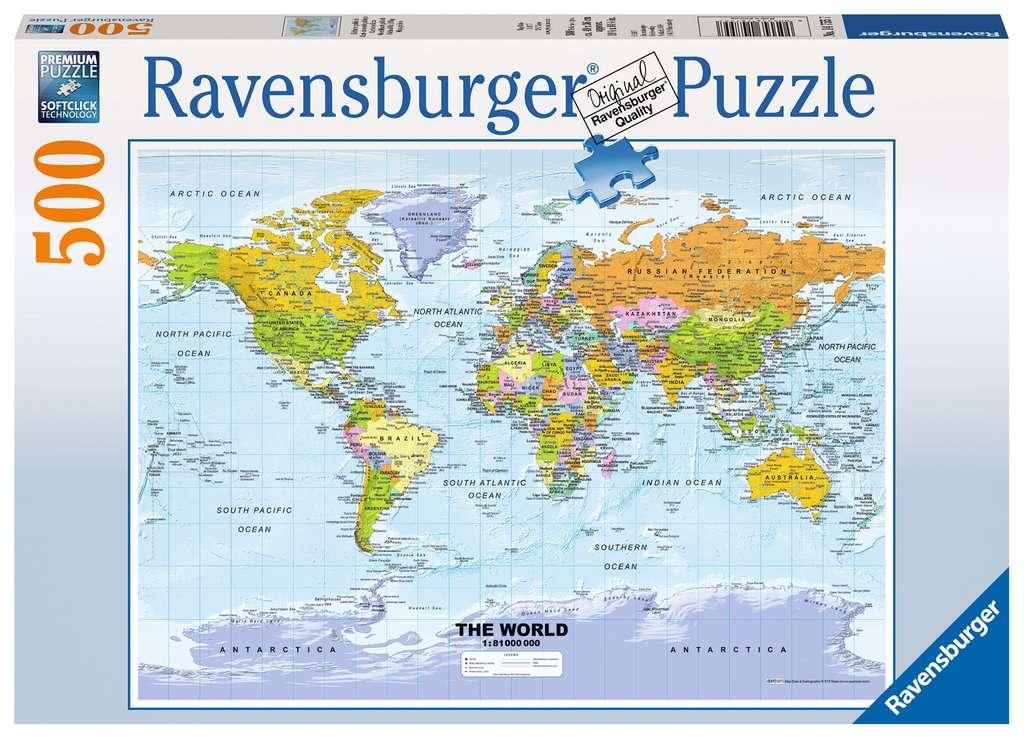 Polityczna Mapa Swiata 500el Puzzle Dla Dzieci Puzzle