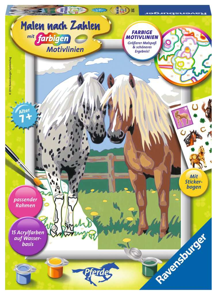 glückliche pferde  malen nach zahlen  malen und basteln
