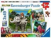 1,2,3 Safari 3x49 dílků 2D Puzzle;Dětské puzzle - Ravensburger