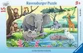 Puzzle cadre 15 p  - Animaux d Afrique Puzzle;Puzzle enfant - Ravensburger