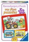Graafmachine, tractor en kiepauto / Excavateur, tracteur et chargeur à bascule Puzzels;Puzzels voor kinderen - Ravensburger