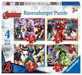 Disney Marvel Avengers 4 v 1 2D Puzzle;Dětské puzzle - Ravensburger