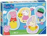 Ravensburger Peppa Pig 4 Large Shaped Jigsaw Puzzles (10,12,14,16pc) Puzzles;Children s Puzzles - Ravensburger