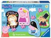Ravensburger Peppa Pig 4 Shaped Jigsaw Puzzles (4,6,8,10pc) Puzzles;Children s Puzzles - Ravensburger