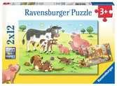 Šťastné zvířecí rodiny 2x12 dílků 2D Puzzle;Dětské puzzle - Ravensburger