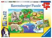 Animals in the Zoo        2x12p Puslespil;Puslespil for børn - Ravensburger