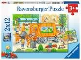 Onderweg met de vuilniswagen en veegmachine Puzzels;Puzzels voor kinderen - Ravensburger