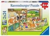 A Day at the Farm         2x24p Puslespil;Puslespil for børn - Ravensburger