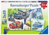 POLICJA W AKCJI 3X49EL. Puzzle;Puzzle dla dzieci - Ravensburger