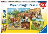 DZIEŃ W STADNINIE KONI 3X49 EL. Puzzle;Puzzle dla dzieci - Ravensburger