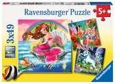 ŚWIAT MITYCZNYCH STWORZEŃ-3X49EL Puzzle;Puzzle dla dzieci - Ravensburger