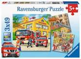 Hasiči 3x49 dílků 2D Puzzle;Dětské puzzle - Ravensburger