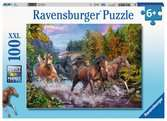 Ravensburger Rushing River Horses 100 piece Jigsaw Puzzle with Extra Large Pieces for Kids age 6 years and up Puzzles;Children s Puzzles - Ravensburger