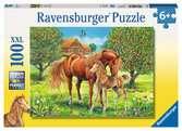 Koně na pastvině 100 dílků 2D Puzzle;Dětské puzzle - Ravensburger