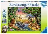 Avondzon bij de drinkplaats / Un coucher de soleil à l'oasis Puzzle;Puzzles enfants - Ravensburger