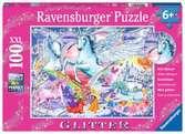 Úžasní jednorožci 100 dílků třpytivé 2D Puzzle;Dětské puzzle - Ravensburger