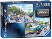 Ravensburger Railway Heritage No.1 - Corfe Station & Oakworth Station 2x 500 piece Jigsaw Puzzles for Adults & for Kids Age 10 and Up Puzzles;Adult Puzzles - Ravensburger