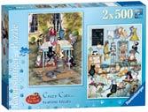 Crazy Cats Tea Time Treats, 2x500pc Puzzles;Adult Puzzles - Ravensburger