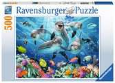 Puzzle 500 p - Dauphins sur le récif de corail Puzzle;Puzzle adulte - Ravensburger