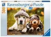 PIES + PLUSZKA W CZAPKACH 500EL Puzzle;Puzzle dla dzieci - Ravensburger