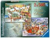 Christmas Collection No.1, Christmas Market & Santa s Christmas Supper 2x500pc Puzzles;Adult Puzzles - Ravensburger