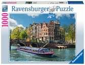 KANAŁ WODNY AMSTERDAM 1000EL Puzzle;Puzzle dla dorosłych - Ravensburger