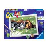 Ravensburger CreArt Paint by Numbers - Sleeping Cats and Dogs Arts & Crafts;CreArt - Ravensburger