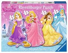 Princess 4 Shaped Puzzles (10,12,14,16pc) - image 1 - Click to Zoom