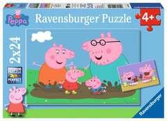 Puzzles 2x24 p - La vie de famille / Peppa Pig - Image 1 - Cliquer pour agrandir