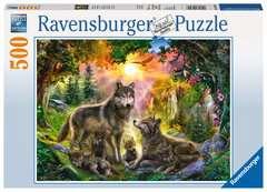 Puzzle 500 p - Famille de loups à l'aurore - Image 1 - Cliquer pour agrandir