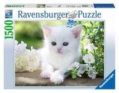 Puzzle 1500 p - Chaton blanc - Image 1 - Cliquer pour agrandir