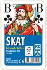 Klassisches Skatspiel, Französisches Bild mit großen Eckzeichen, 32 Karten in Klarsicht-Box - Bild 1 - Klicken zum Vergößern