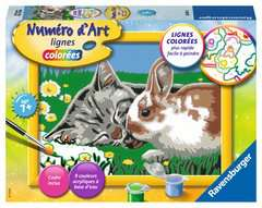 Numéro d'art - petit - Chaton et son compagnon le lapin - Image 1 - Cliquer pour agrandir