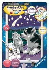 Numéro d'art - petit - Chiot Husky et son compagnon le chaton - Image 1 - Cliquer pour agrandir