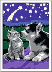 Numéro d'art - petit - Chiot Husky et son compagnon le chaton - Image 2 - Cliquer pour agrandir