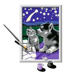 Numéro d'art - petit - Chiot Husky et son compagnon le chaton - Image 3 - Cliquer pour agrandir