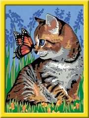 Numéro d'art - moyen - Chat et son compagnon le papillon - Image 2 - Cliquer pour agrandir